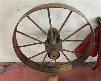 Large Metal Wheel on Base