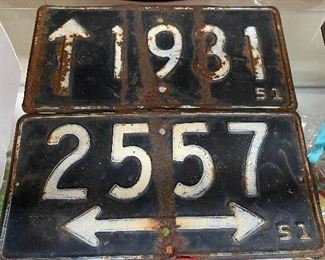 Two 1950's Directional Signs