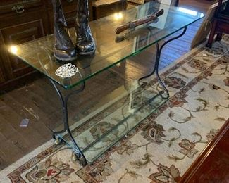 GLASS TOPO FOYER TABLE
