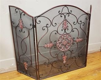 Large Ornate Metal Fireplace Screen 56.5 in. x 36 in.