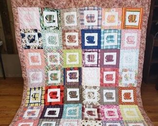 Coffee Cup Motiff Quilt ~ 90 in. x 70 in.