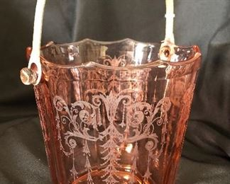 "Antique Depression Glass Cambridge ""Cleo"" Ice Bucket"
