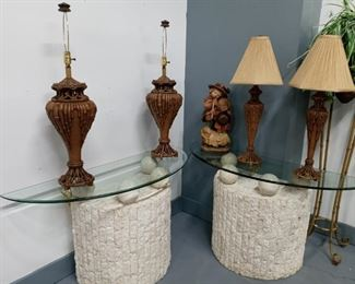 Stone & Glass Top Tables/Assorted Lamps