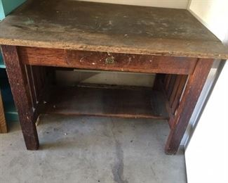 $450. Arts and Crafts Mission Oak Library Table Desk with Drawer. Has been used as a work bench.