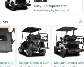 This golf cart has the optional back seat converter shown above included