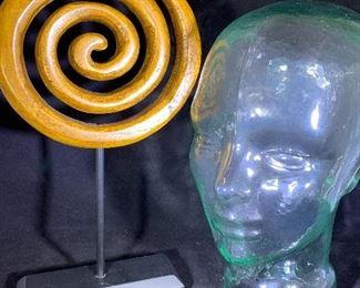 spiral art and glass storage/display head