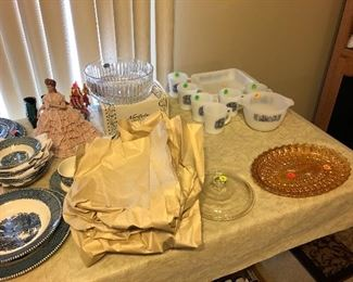 Vintage Currier and Ives and Depression glass