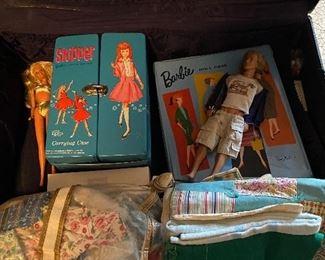 Vintage Skipper box, Barbie dolls and Ken doll, accessories