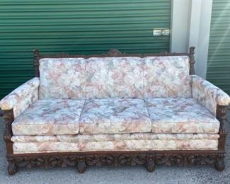Pink Floral and Wood Carved Sofa