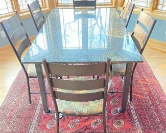 Breakfast table granite top 66x42x29h Afghani rug 80x110