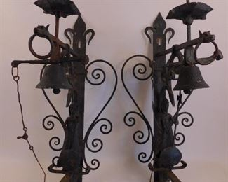 Pair iron figural large wall bells