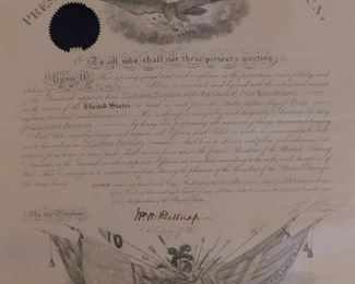 5 Presidential signed commissions - US Grant
