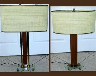 2 Mid Century Modern Tall Table Lamps with Lucite and Metal Bases; The One of the Left is Slighter Taller