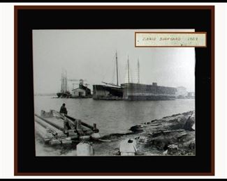 Framed Picture of Craig Shipyard 1909 Showing a Floating Dry Dock