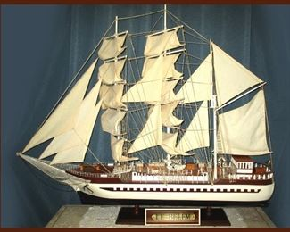 Huge One of a Kind, Hand Made Sailboat, Le Belem; Measures Approximately 5 Feet Wide by 4 Feet High