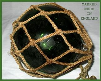 Green Blown Glass Float Marked Made in England