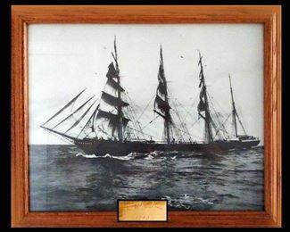 Framed Sailboat Print; Written on the Back; LA Harbor 1903