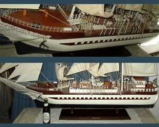 Close Up Showing Detail and Bottom Showing Scale of the Huge One of a Kind, Hand Made Sailboat, Le Belem:  Measures Approximately 5 Feet Wide by 4 Feet High