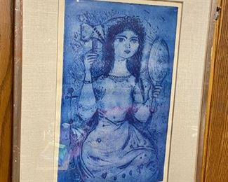 """Lot 5244.  $500.00  """"Girl with a Mirror"""" by Dimitri, an original signed lithograph.  Original price $1400. Could use a new frame and Matte.  This is an artist proof  signed on bottom right """"Dimitri"""" and on bottom left P/A which we assume is artist proof."""