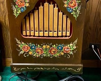 """Lot 5288. $1200.00  What a GREAT find!  This is a magnificent authentic Street (Barrel) Organ by Schmider Drehorgeln includes a 4-wheel wrought iron trolley and handle.   Hand-painted in excellent condition. Includes a roll of paper music, sounds great!  Let us know if you want a video of it playing!  28.5""""W x 17""""D x 14.5""""H.  Manufactured in Hausach, Germany 1970's.  16 Note endless paper roll for 30 minutes of continuous play before repeating.  No Monkey, Business?  Check this out, Scroll down to Lot 5288 for additional photos."""