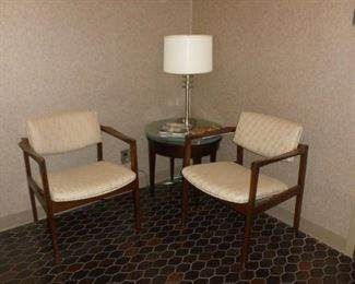 Mid-Century Chairs w/newer table & lamp
