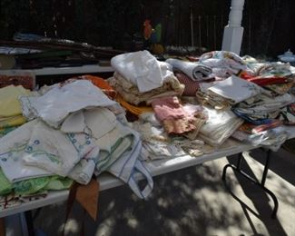 Vintage aprons, tablecloths, curtains and linens