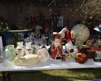 Vintage hurricane lamps, globe, vases and rooster cookie jar