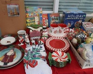 2 sets of vintage Christmas china, vintage ornaments and books