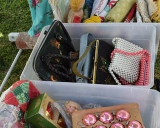 More vintage Christmas, purses, toys & blankets