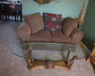 love seat, glass coffee table