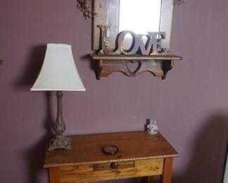 table, mirror, lamp
