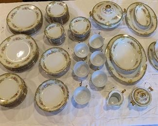 Gold China made in Japan (service for 12 with additional serving pieces)