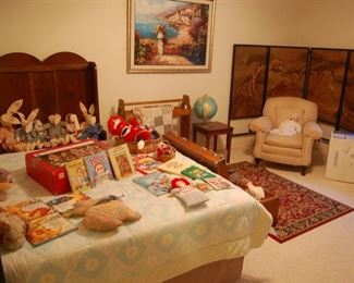 Downstairs bedroom, vintage screen, antique high back bench and raggedy Ann & Andy dolls