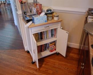 kitchen cabinet and cookbooks