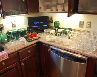 Emerald Green glasses, crystal sets