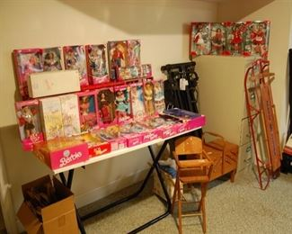 Vintage Barbies, old Sled, File cabinet, Total Gym, Treadmill