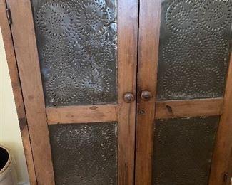 Wooden Pie Safe with stamped metal vented door panels