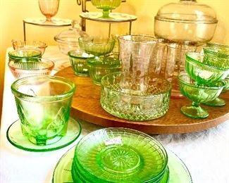 Pink & Green depression glassware