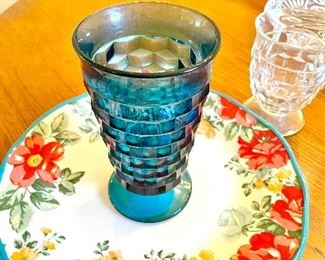 Colony Whitehall Blue Cube goblets & Pioneer Woman stoneware