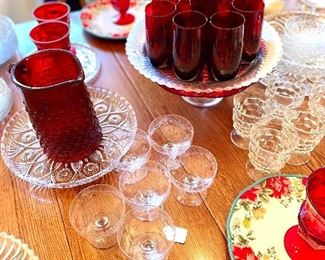 Beautiful Ruby Red glass, including Hobnail Pitcher