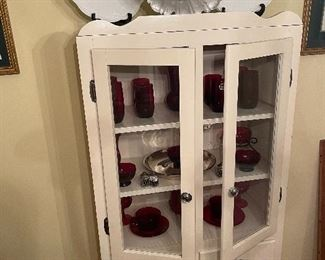 Vintage china cabinet & ruby red glassware