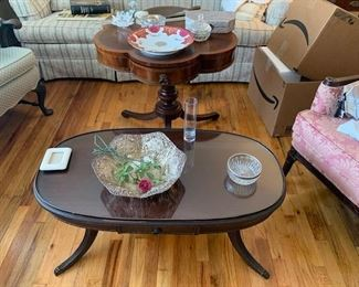 Mahogany Oval Coffee Table / in front Mahogany Clover Shape Table