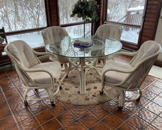 81 White Rattan Table and Chairs