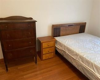 """Antique chest of drawers (46""""x20""""x15""""), night table, antique double bed with lighted headboard"""