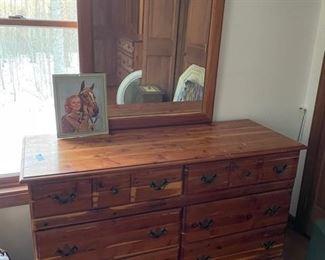 Vintage cedar dresser with mirror (part of a 3 piece set)