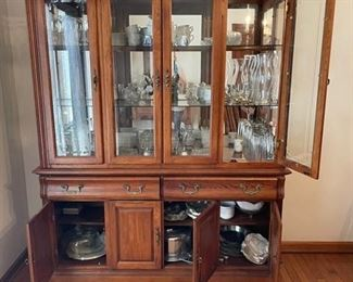 """Queen Ann oak dining room china hutch (matching table, chairs and server available) (58""""x85""""x17.5"""")                             Additional serving and glassware also for sale"""