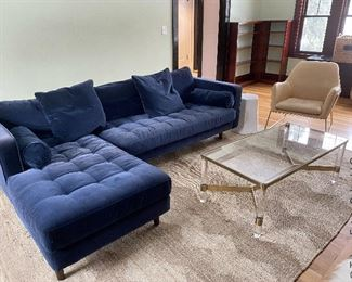 Blue velvet Sven sofa with chaise from Article