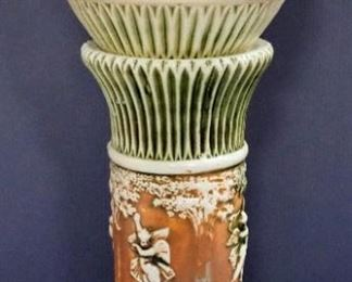 """Roseville Pottery Donatello Pattern Jardiniere And Pedestal, Circa 1916, Approx 29"""" High When Together"""