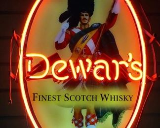 """Dewar's Finest Scotch Whisky Neon Sign, 14"""" Wide x 20.75"""" High, Powers On"""