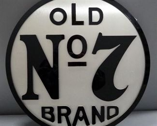 "Old No7 Brand Brushed Metal And Acrylic Wall Hang, 23.5"" Dia."